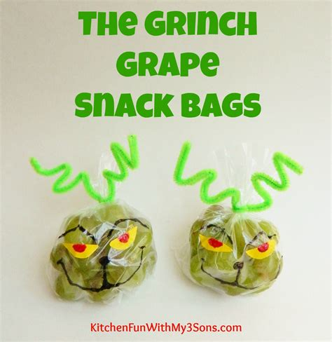 christmas snacks for preschool the grinch grape snack bags for class at school kitchen with my 3 sons