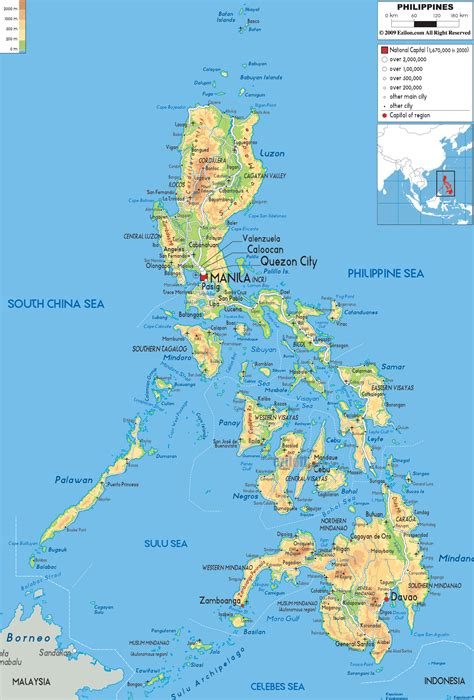 map of phillipines physical map of philippines ezilon maps