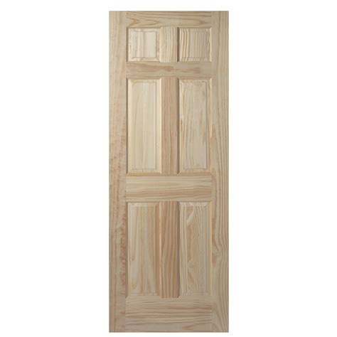 30 X 78 Interior Door Shop Masonite Unfinished 6 Panel Solid Wood Pine Slab Door Common 30 In X 78 In Actual