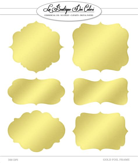 printable silver stickers clip art gold foil frames labels tags digital frames digital