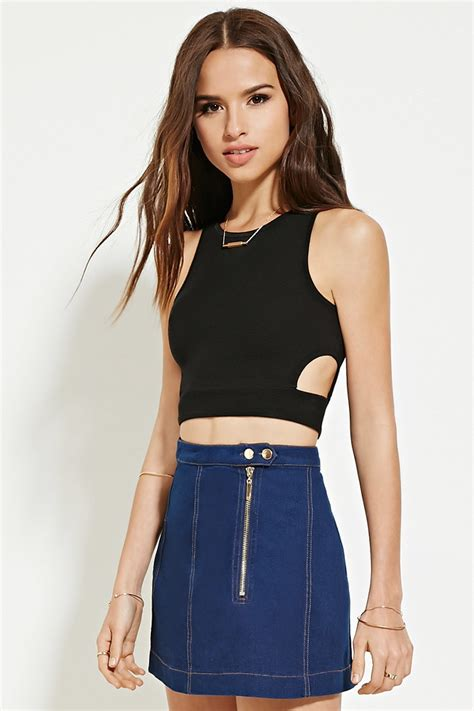 Cutout Crop Top lyst forever 21 side cutout crop top in black