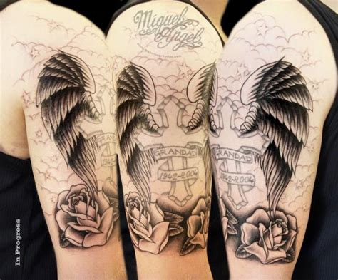 25 glorious cross with wings tattoo designs