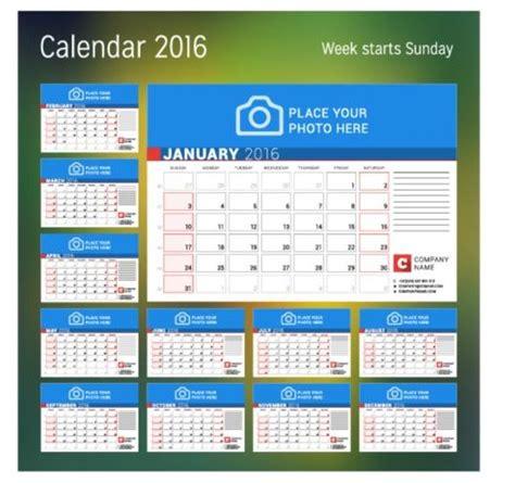 calendar design free software calendar 2017 with photo vector design 04 vector