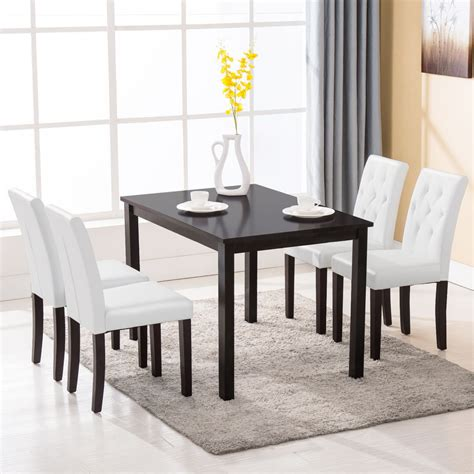 5 dining table set 4 chairs room kitchen dinette