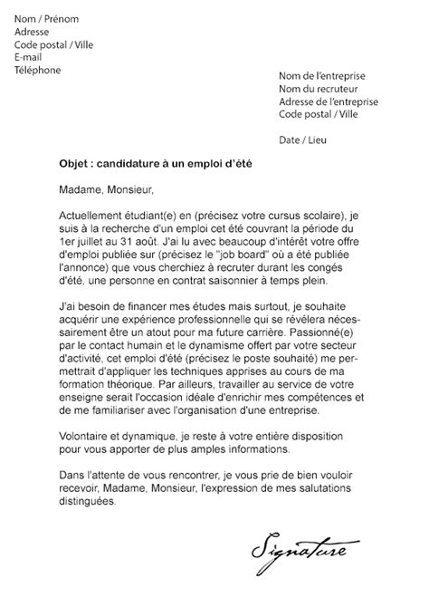 Lettre De Motivation Vendeuse Mi Temps Lettre De Motivation D 233 T 233 Mod 232 Le De Lettre