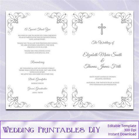 Catholic Wedding Program Template Diy Silver Gray Cross Catholic Wedding Program Template
