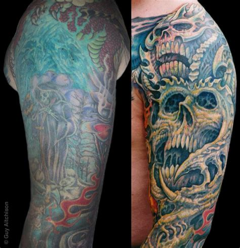 upper arm tattoo cover up designs aitchison tattoos coverup robert arm closeup