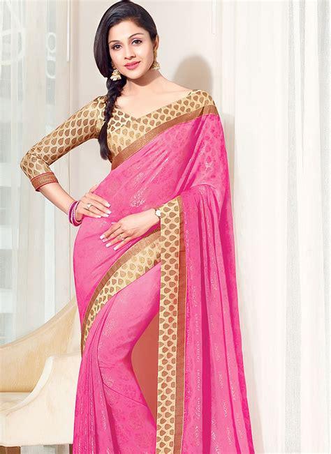 Pink Saree kurta pajama for design punjabi with jacket simple