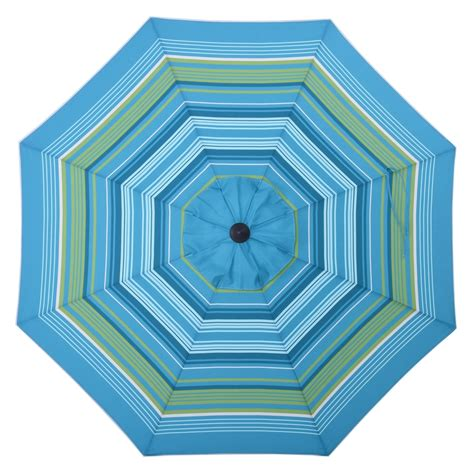 Blue Pattern Patio Umbrella | shop allen roth teal green stripe market 9 ft patio
