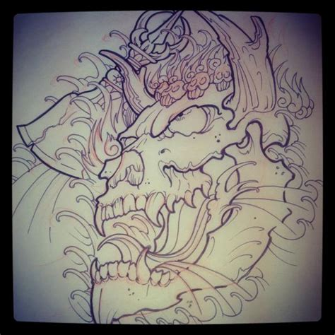 oni skull sketch rites of passage tattoo