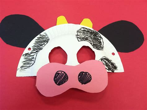 mask crafts for kids easy cow mask made from a paper plate and construction