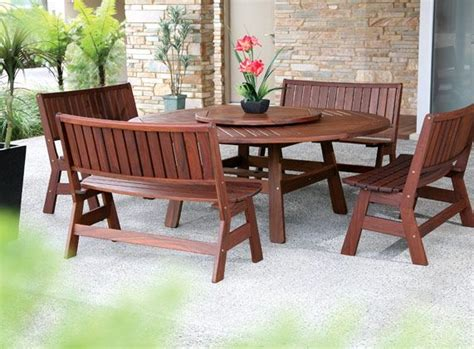 jarrah outdoor furniture jarrah pemberton table with 4 curve benches the great outdoors best