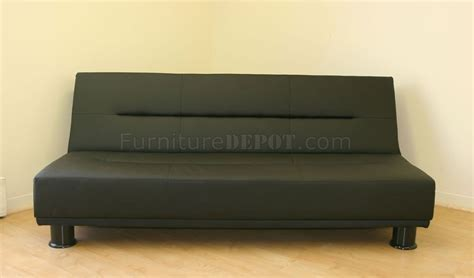 Modern Convertible Sofa Black Chocolate Or White Leatherette Modern Convertible Sofa