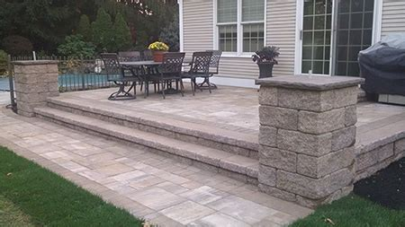 raised paver patio raised paver patio with pillars in goshen new york mfs