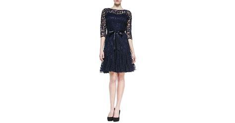 rickie freeman for teri jon 34 sleeve lace overlay gown navy teri jon 3 4 sleeve lace overlay cocktail dress in blue