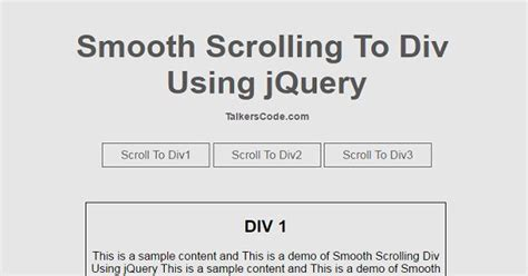 scroll div smooth scrolling to div using jquery on talkerscode