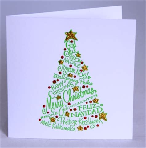 a handmade christmas card with tree handmade by helen