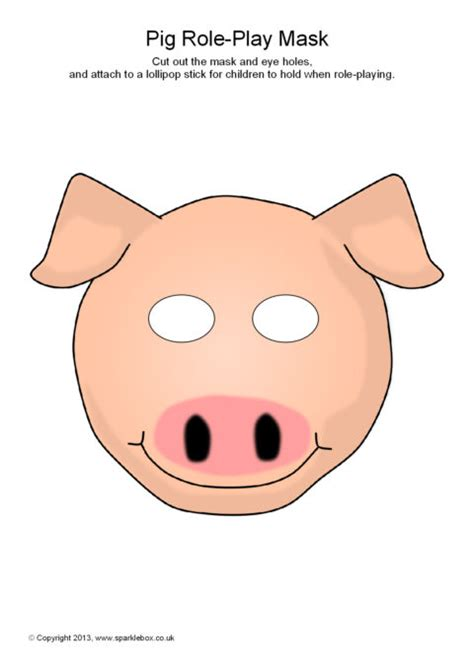 printable mask farm animals cartoon pig face mask adultcartoon co