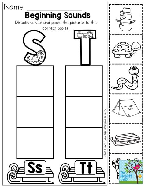 beginning sounds cut and paste the pictures to the
