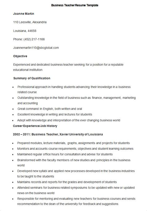 Resume Templates For Retired Teachers Business Resume