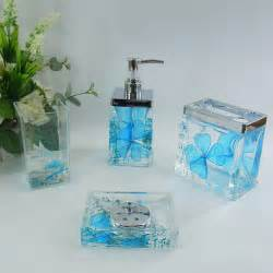 Blue Bathroom Accessories Sets Sky Blue Floral Acrylic Bath Accessory Sets H4001 Bingo E Commerce