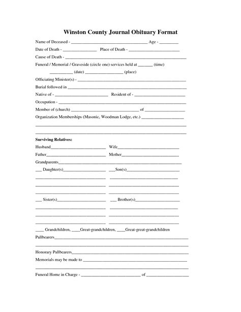 obituary template printable obituary template fill in the blank obituary