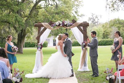 wedding arch term rustic wedding arch with draped burlap