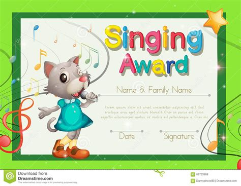 Singing Award Certificate Template Stock Vector   Image