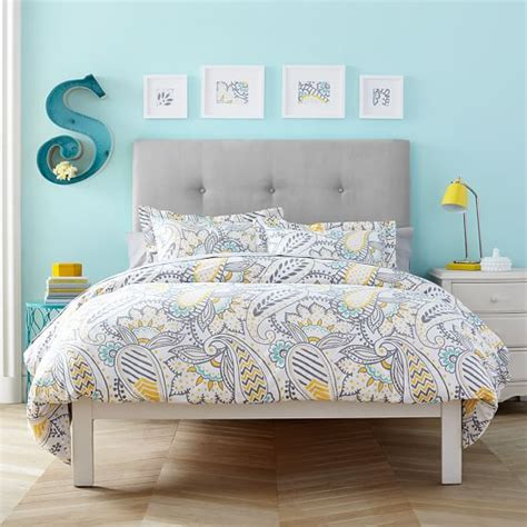 pottery barn essential sheets essential upholstered simple bed pbteen
