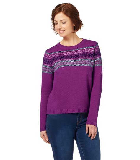 Bj 9728 Pink Knit Cardigan woolovers womens lambswool fairisle crew neck sleeve jumper pullover ebay