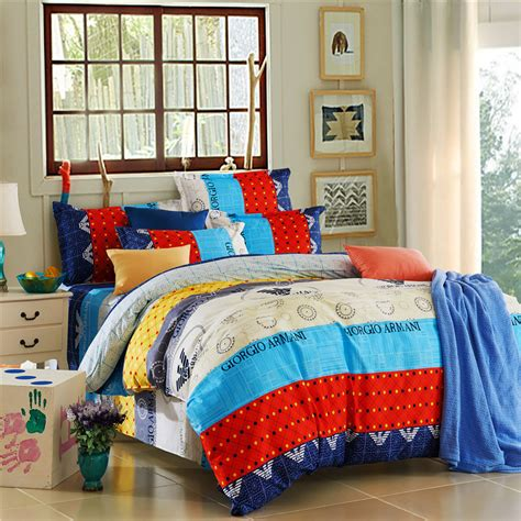 Bright Colored Bedding Sets Blue Yellow Bright Colored Modern Pattern Comforters Set King Size Bed
