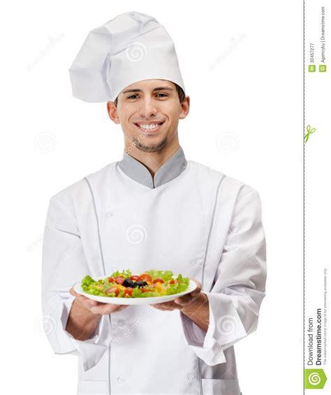 images cuisiner portrait de cuisinier avec le plat de salade photographie