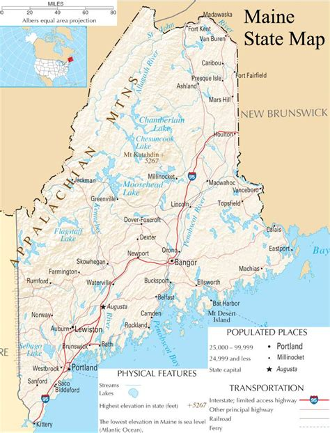 Search For In State Maine State Map A Large Detailed Map Of Maine State Usa