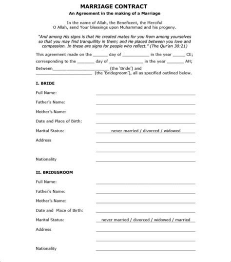 38 free marriage contract templates pdf format exles