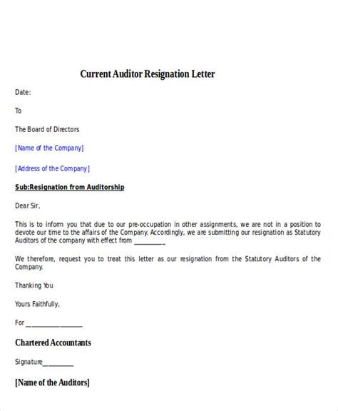 Acceptance Letter For Audit 30 resignation letter exles