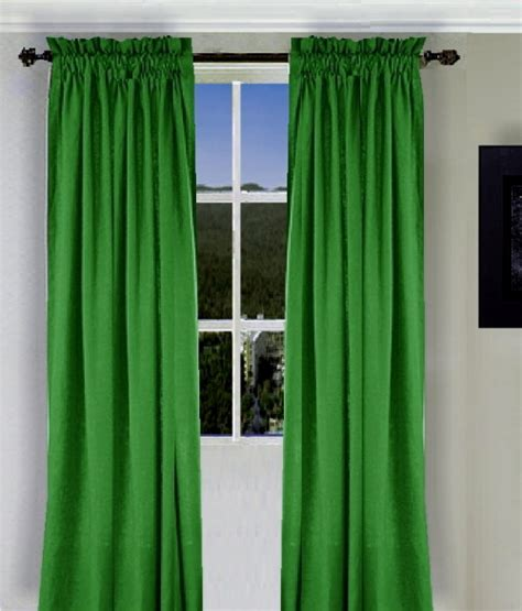 Solid Kelley Green Colored Window Long Curtain (available
