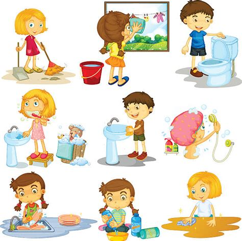 Real Pict Rok Anak Wash royalty free household chores clip vector images