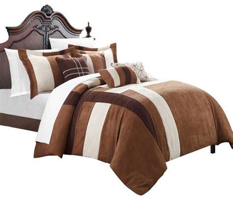 brown and cream comforter set regina microsuede brown cream queen 7 piece comforter
