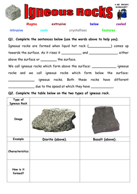 igneous rocks worksheet answers igneous rocks worksheet by danbrown360 teaching resources tes