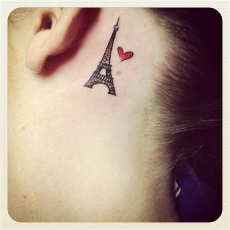 eiffel tower tattoo behind ear tiny red heart and eiffel tower tattoo behind the ear