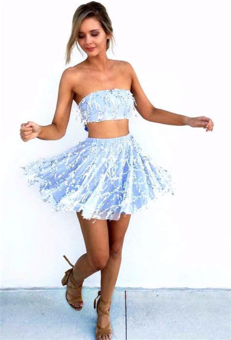 Longdress Set 2in1 Glitter Pink two skater dress blue