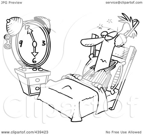 earmuff coloring page white outline design of a man tuning out an alarm clock