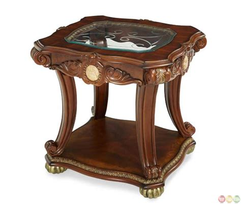 michael amini cortina traditional honey walnut end table