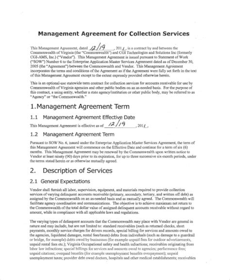 8 sle business management agreements sle templates