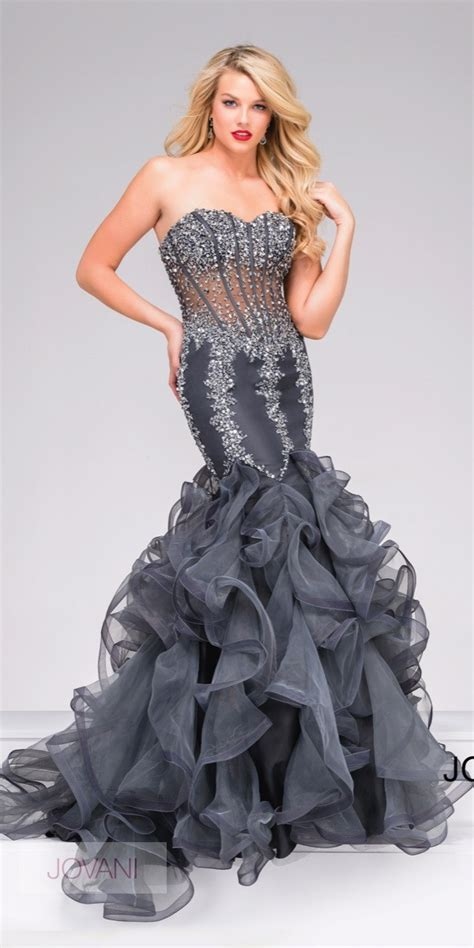 unique corset mermaid dress with ruffle hem jovani 42883