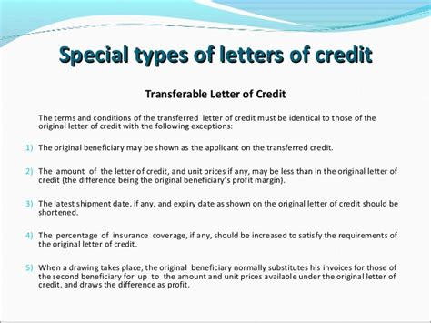 Letter Of Credit Transferable Letters Of Credit