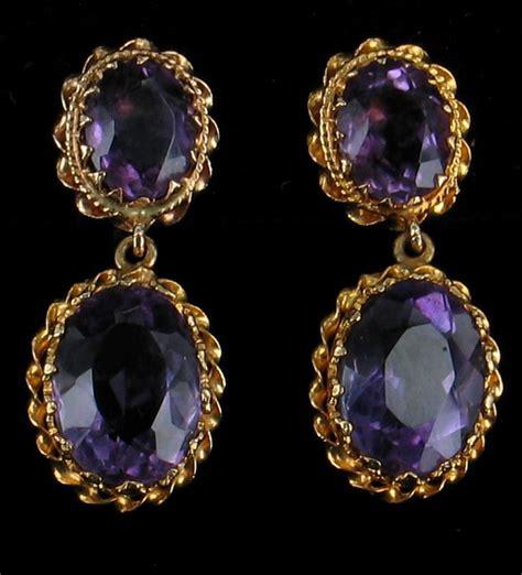 vintage 14k gold amethyst dangle drop earrings gorgeous