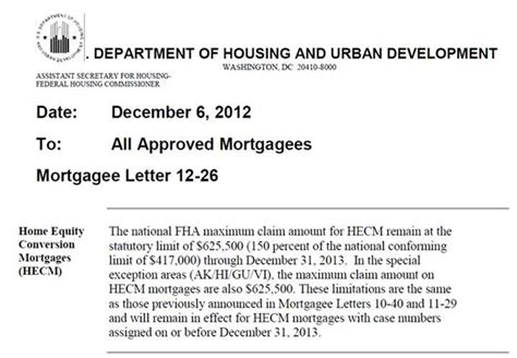 Mortgagee Letter Mip Fha 2013 Mortgage Loan Limits 625 500 Extended