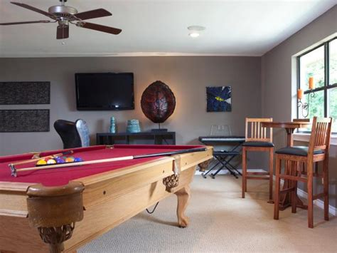 gray game room  wood pool table hgtv