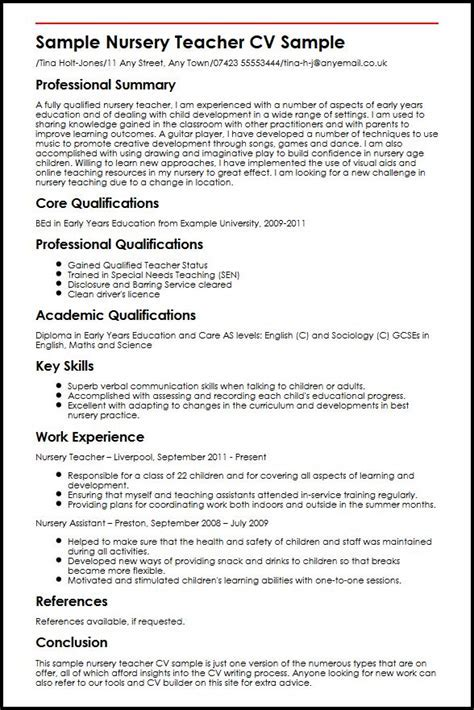 level 2 nursery nurse sample resume early years practitioner cv - Nursery Attendant Sample Resume